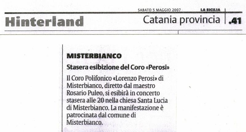 La Sicilia del 5 Maggio 2007