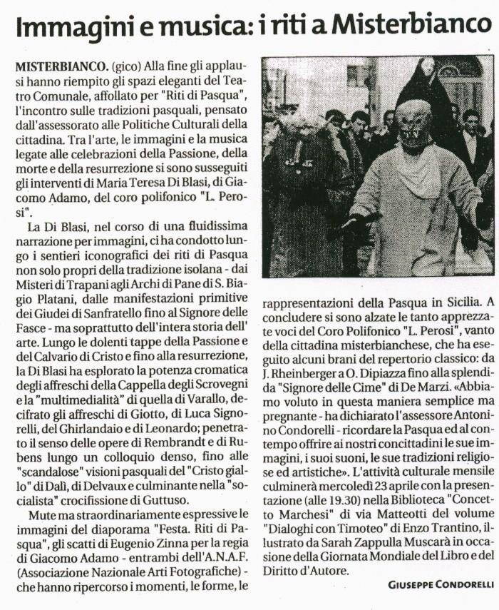 Giornale di Sicilia 18.04.2003